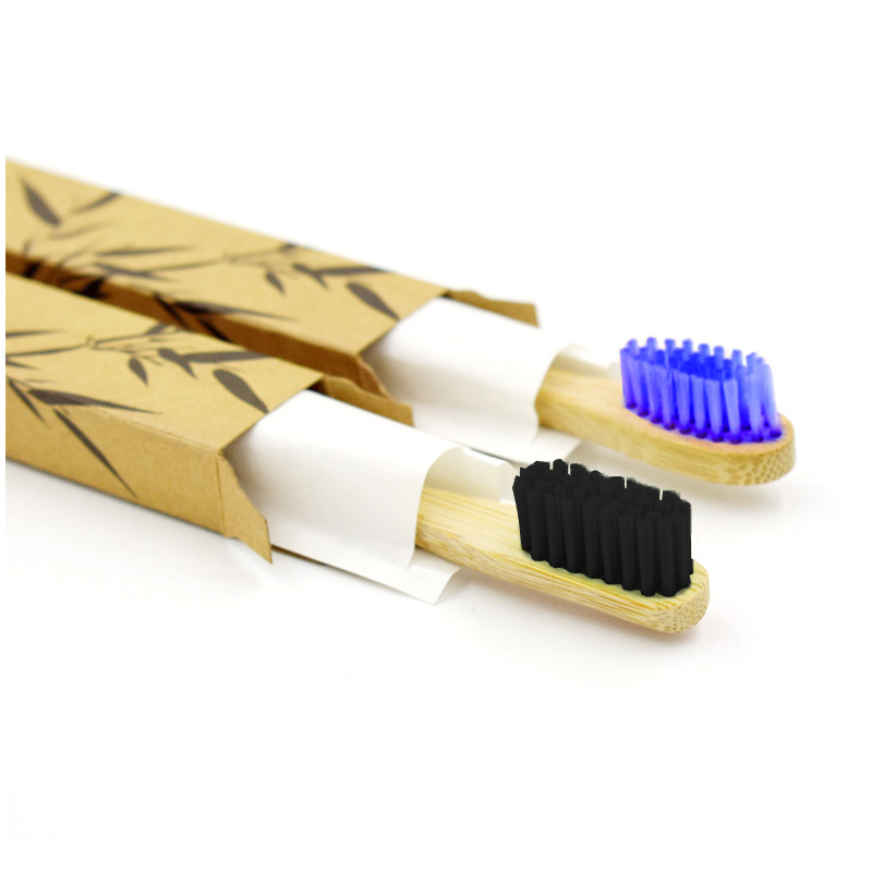 Eco-friendly Bamboo Toothbrush with Round Handle for Teeth Whitening - Black