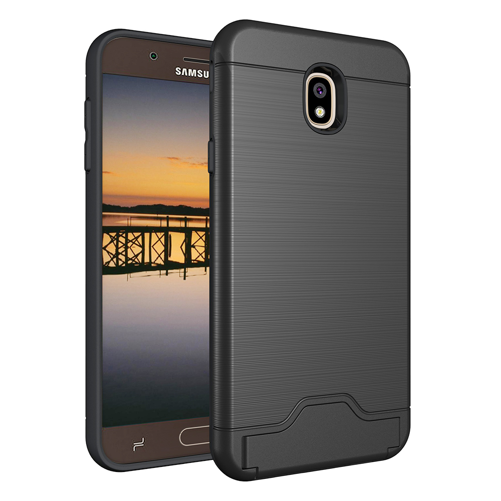 Bump Shockproof Brushed Drawing Kickstand Case Back Cover with Card Slot for Samsung J7 2018 - Black