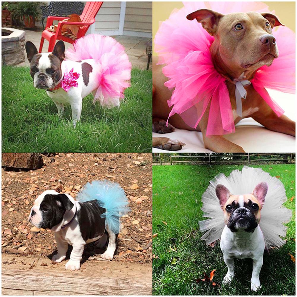 Size S Pet Dog Puppy Princess Lace Tutu Dress Mesh Skirt Clothes - White