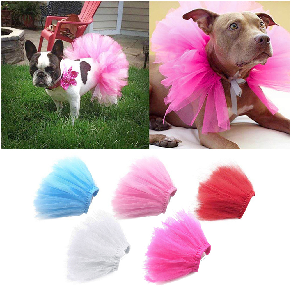 Size M Pet Princess Party Tutu Dress Small Dog Puppy Lace Mesh Skirt Apparel Clothes - Rose Red