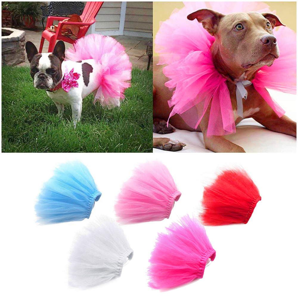Size L Pet Dog Puppy Cat Princess Lace Mesh Skirt Tutu Party Dress Apparel Clothes - Pink