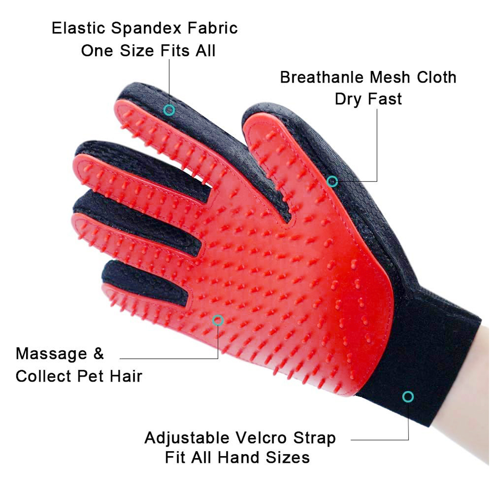 1 Pair Pet Grooming Glove Deshedding Brush Hair Remover Mitt Massage Tool - Red