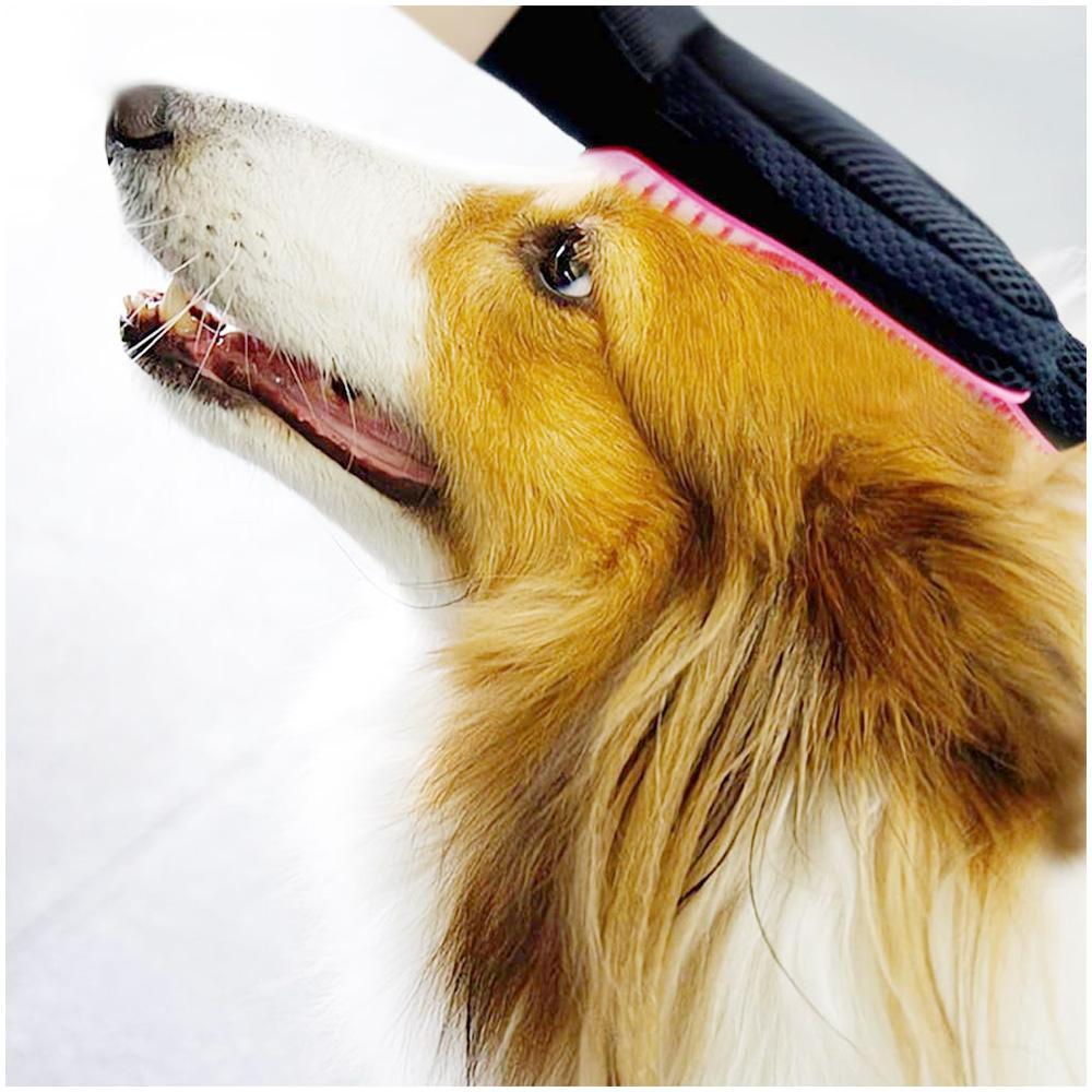 1 Pair Pet Grooming Glove Deshedding Brush Hair Remover Mitt Massage Tool - Pink