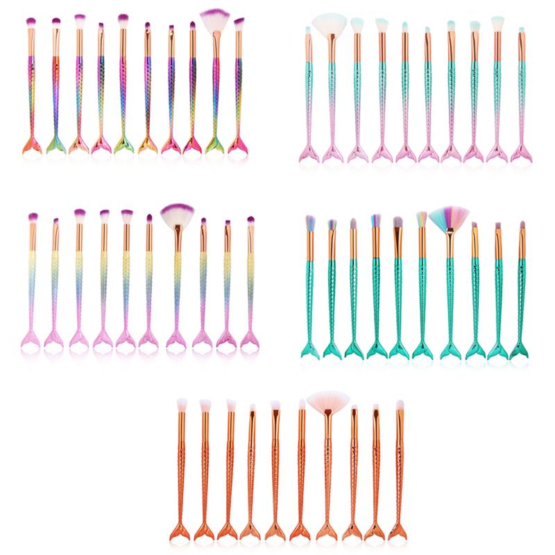 10PCS Mermaid Eyebrow Eyeliner Eyelash Brush Kit Makeup Mascara Brushes Set Beauty Tool - Color 1