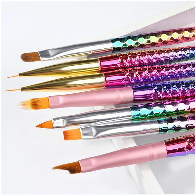 Mermaid Tail Nail Art Liner Brush UV Gel Acrylic Painting Polish Pen Tools - Sawtooth Pen