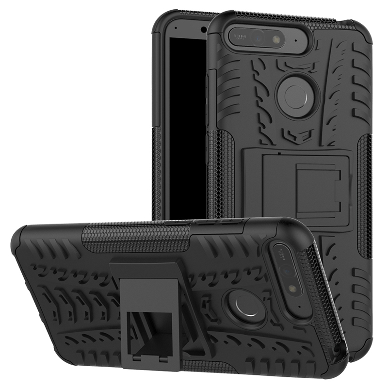 Rugged Armor Hybrid Shockproof Case Cool Anti-Slip Kickstand Back Cover for Huawei Honor 7A (Y6 2018) - Black