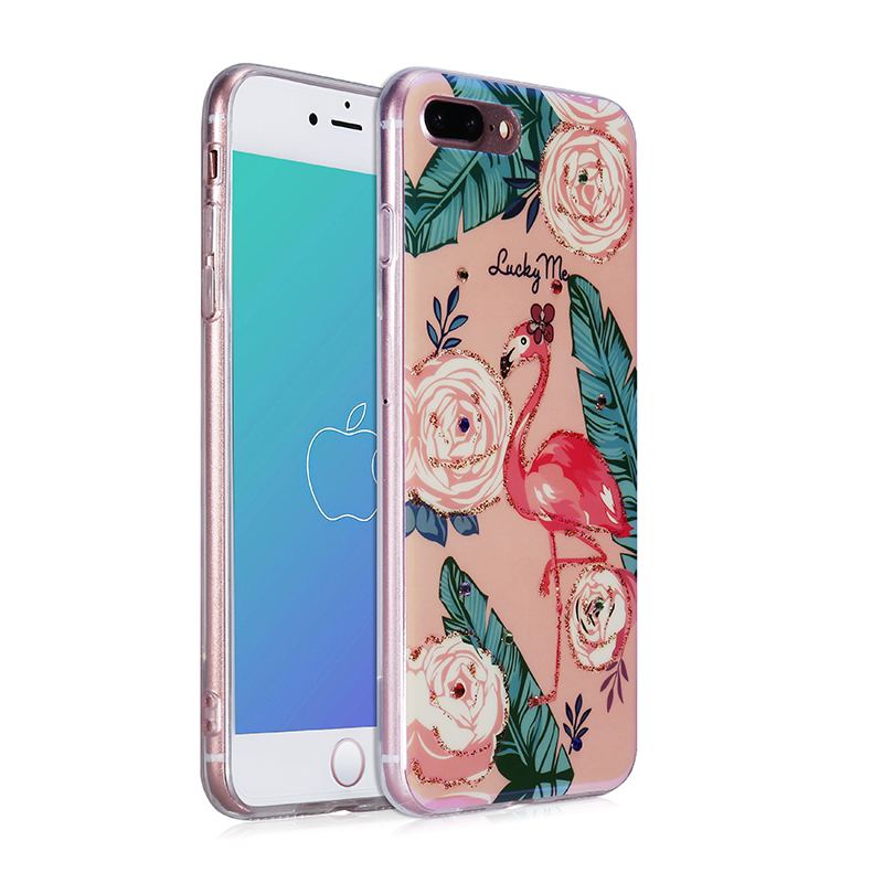 Blue-ray Soft TPU Silicone Back Case Rainstone Printed Phone Cover for iPhone 7/8 Plus - Flamingo 1