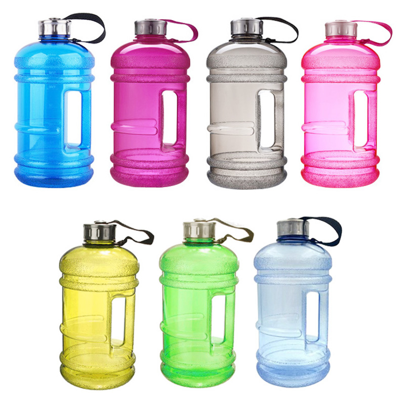 2.2L Big Large Sport Water Bottle BPA Free Leakproof Gym Training Drink Cap Kettle - Yellow