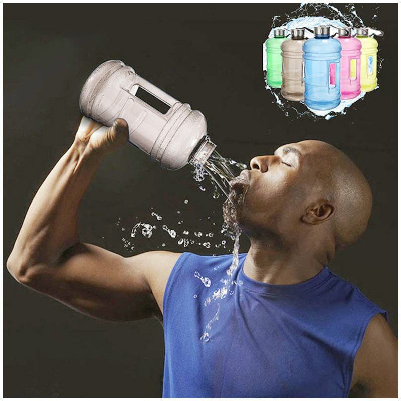 2.2L Big Large Sport Water Bottle BPA Free Leakproof Gym Training Drink Cap Kettle - Black