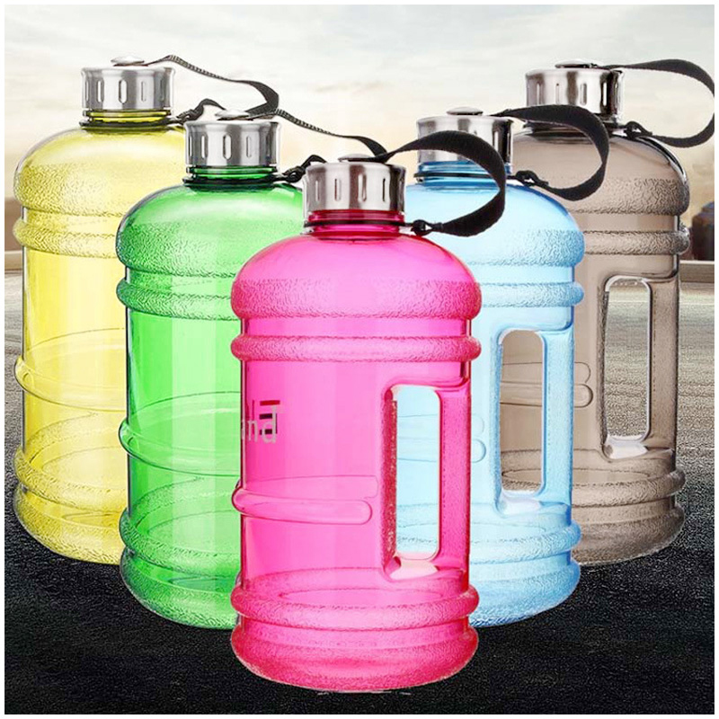 2.2L Big Large Sport Water Bottle BPA Free Leakproof Gym Training Drink Cap Kettle - Pink