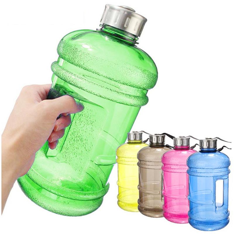2.2L Big Large Sport Water Bottle BPA Free Leakproof Gym Training Drink Cap Kettle - Green