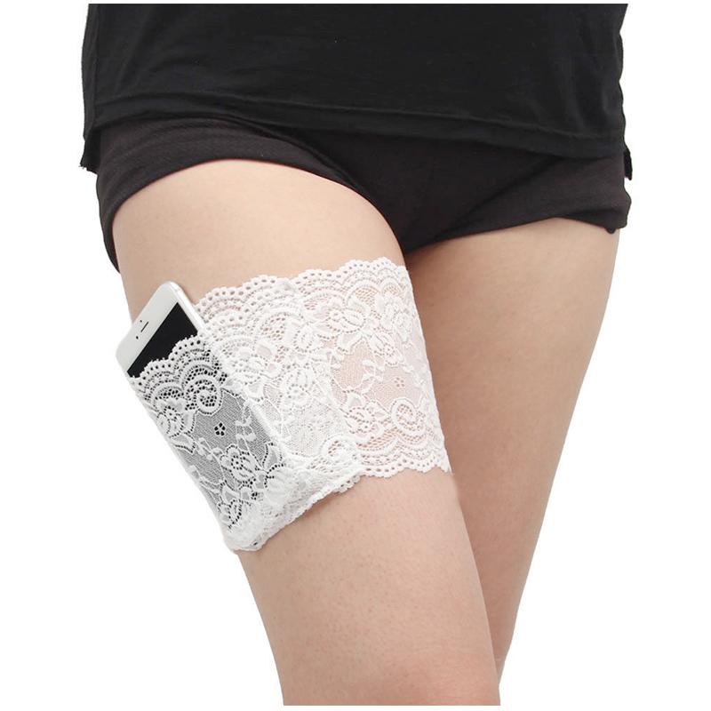 Women Lace Elastic Sock Non Slip Anti-Chafing Thigh Bands Leg Sleeve Size M - White