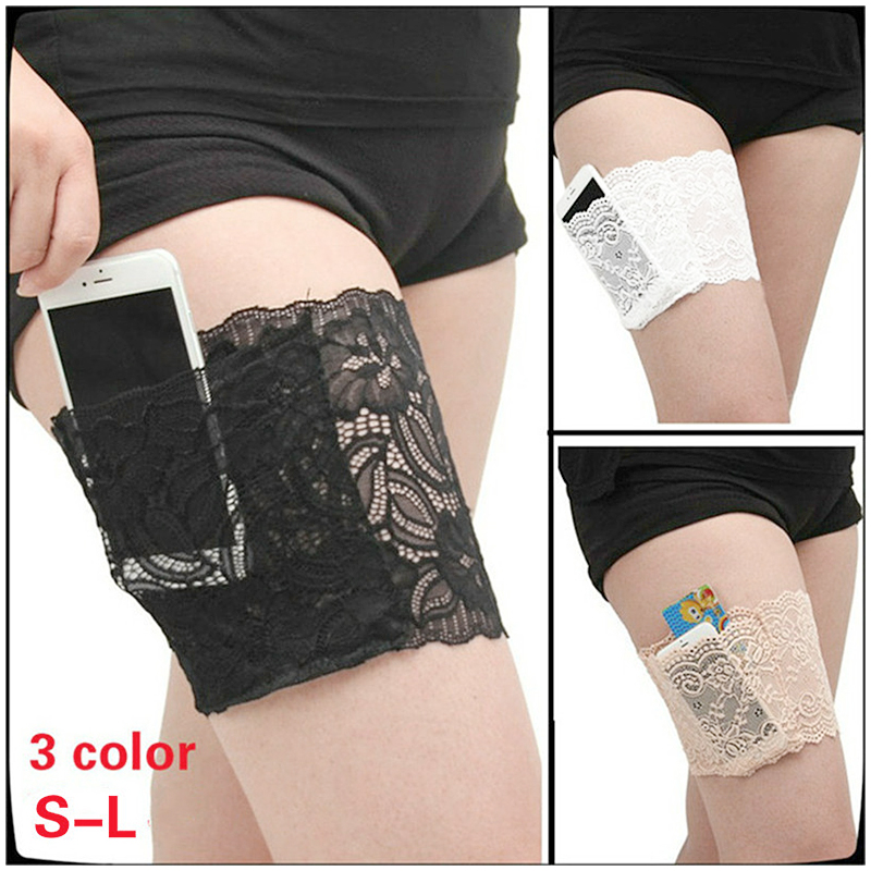 Women Lace Non-slip Sock Elastic Anti-Chafing Leg Sleeve Thigh Band Size L - Nude