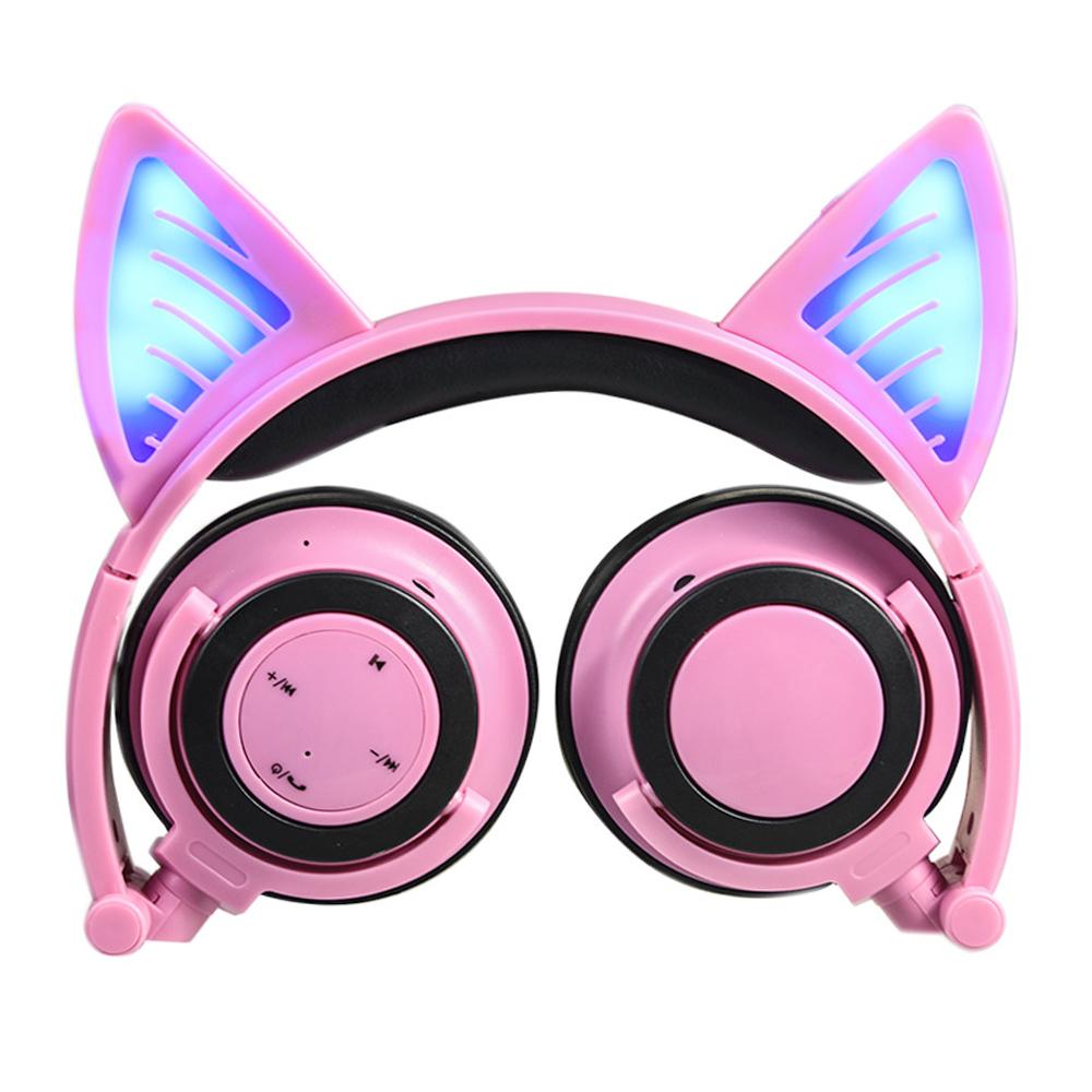 Cat Ear Foldable Wireless Bluetooth Headphone Earphone Headset with LED Flashing Lights - Pink