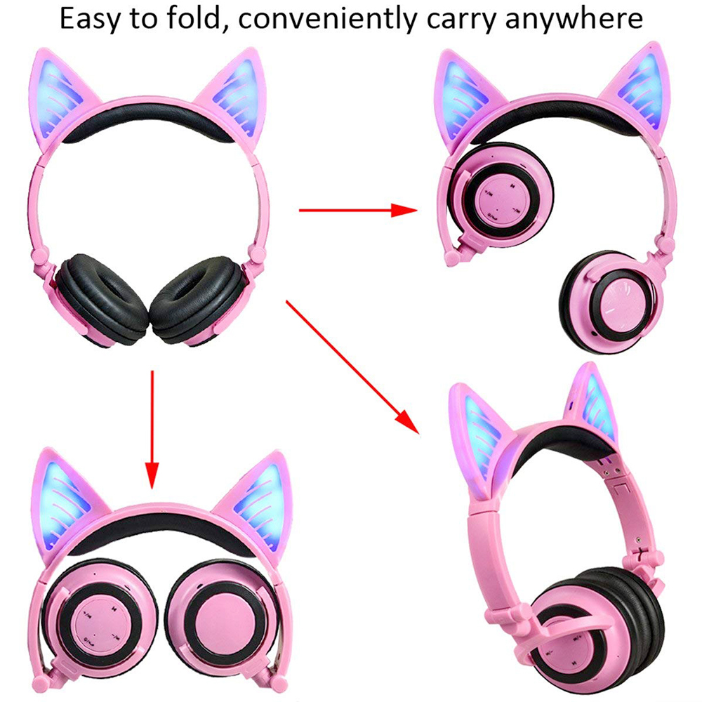 Cat Ear Foldable Wireless Bluetooth Headphone Earphone Headset with LED Flashing Lights - Pink