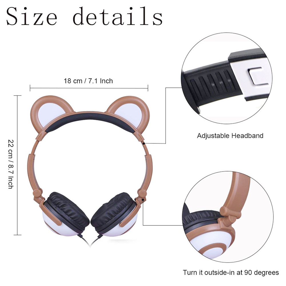 Cute Bear Ear Wired Headphone LED Glowing Light Foldable Headset Earphone - Brown