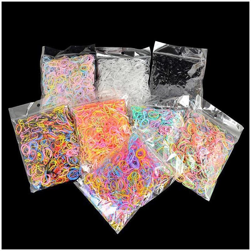 1000Pcs/Bag Disposable Elastics Hair Bands Girls TPU Rubber Ponytail Holder Band - Color 1