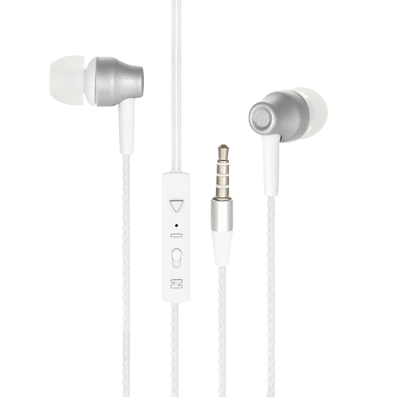3.5mm Universal Bass Stereo In Ear Earphone Earpiece Headset with Mic - White