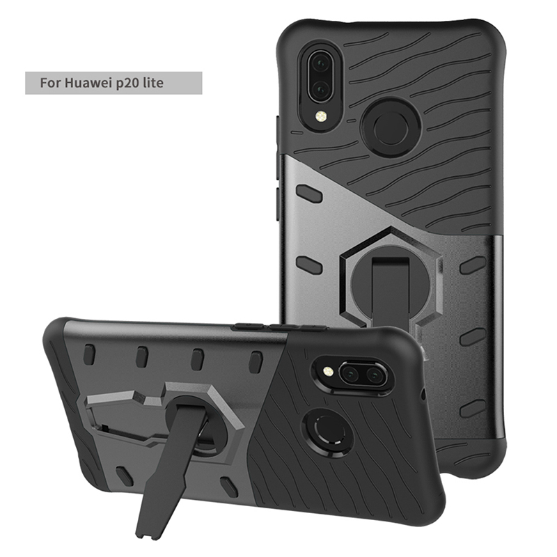 PC+TPU Dual Layer Shockproof Armor Case Back Cover with 360 Rotation Stand Function for Huawei P20 Lite - Black