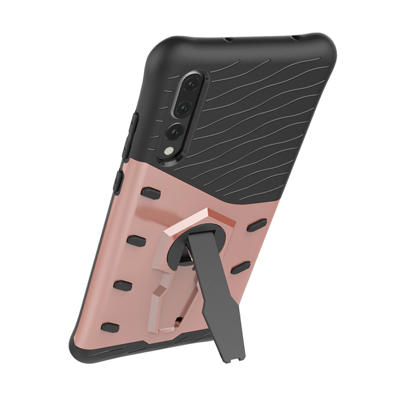 2in1 PC+TPU Bump Shockproof Armor Case Slim 360 Rotation Back Cover Sheel for Huawei P20 Pro - Rose Gold