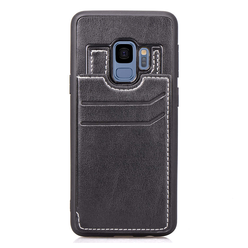 Vintage PU Leather Wallet Case Magnetic Card Slots Flip Stand Back Cover for Samsung S9 - Black