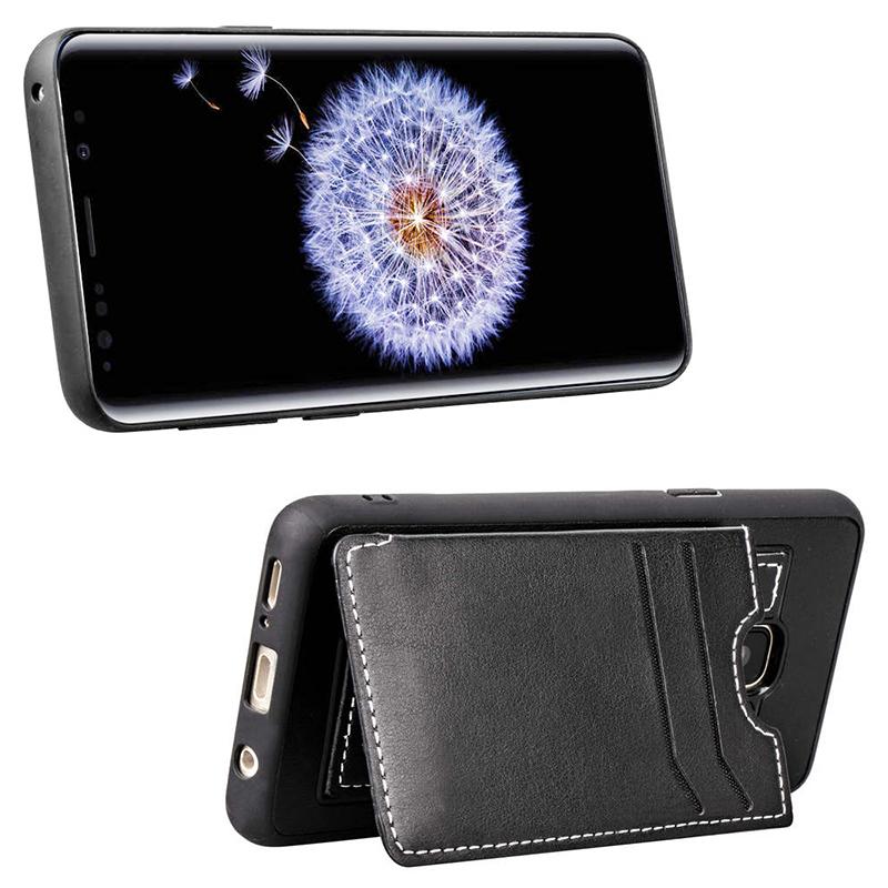 Vintage PU Leather Wallet Case Magnetic Card Slots Flip Stand Back Cover for Samsung S9 - Black