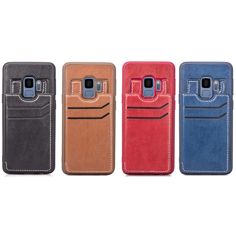 Vintage PU Leather Wallet Case Magnetic Card Slots Flip Stand Back Cover for Samsung S9 - Brown