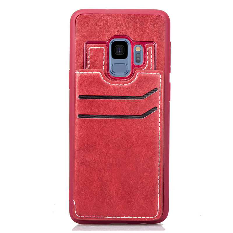 Vintage PU Leather Wallet Case Magnetic Card Slots Flip Stand Back Cover for Samsung S9 - Red