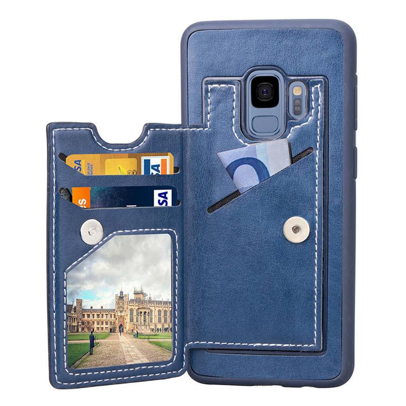 Vintage PU Leather Wallet Case Magnetic Card Slots Flip Stand Back Cover for Samsung S9 - Blue