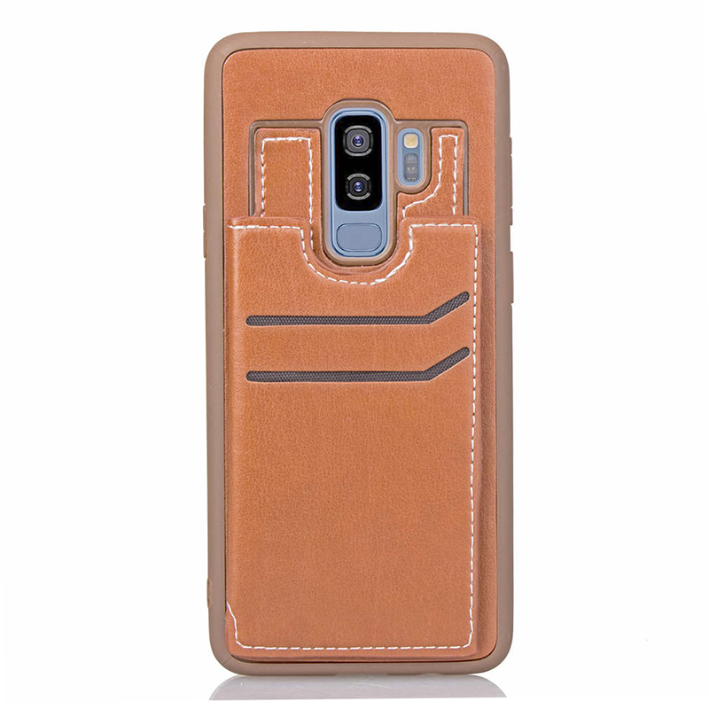 Soft TPU Bumper PU Leather Shockproof Case Magnetic Wallet Flip Stand Back Cover for Samsung S9 Plus - Brown