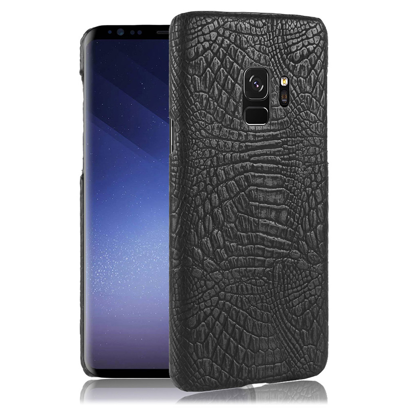 Ultra-Slim Crocodile PU Leather PC Hard Case Back Cover for Samsung S9 - Black
