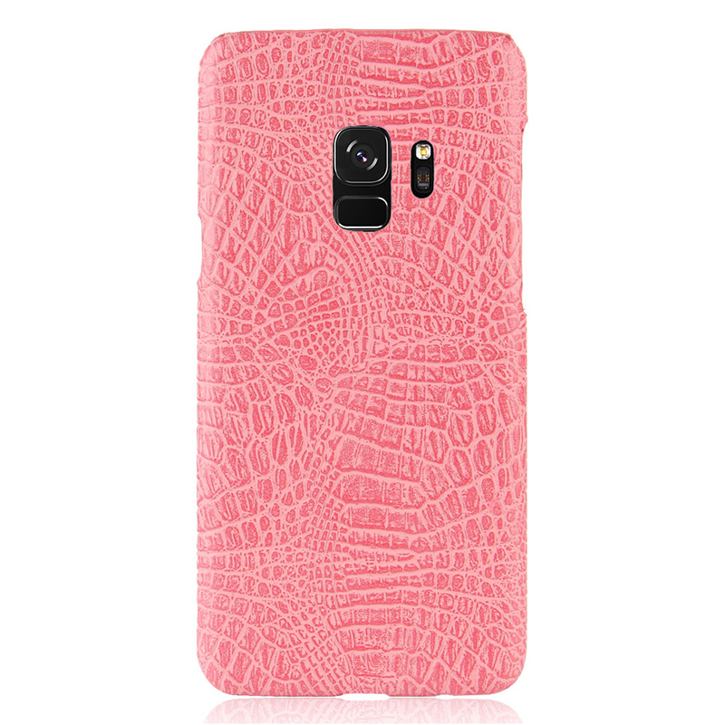 Ultra-Slim Crocodile PU Leather PC Hard Case Back Cover for Samsung S9 - Pink