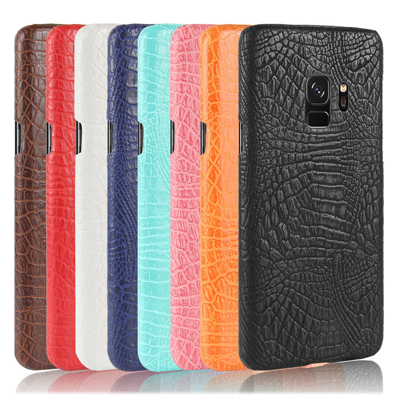 Ultra-Slim Crocodile PU Leather PC Hard Case Back Cover for Samsung S9 - Red