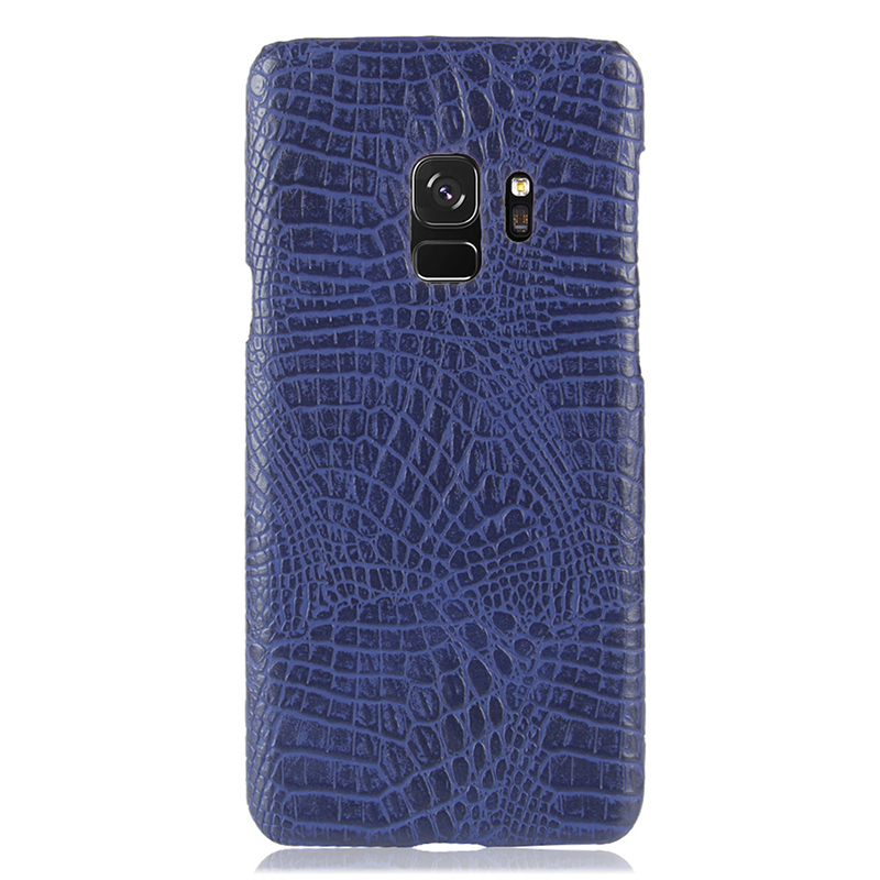 Ultra-Slim Crocodile PU Leather PC Hard Case Back Cover for Samsung S9 - Blue