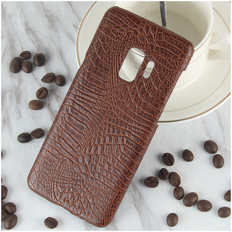 Ultra-Slim Crocodile PU Leather PC Hard Case Back Cover for Samsung S9 - Brown