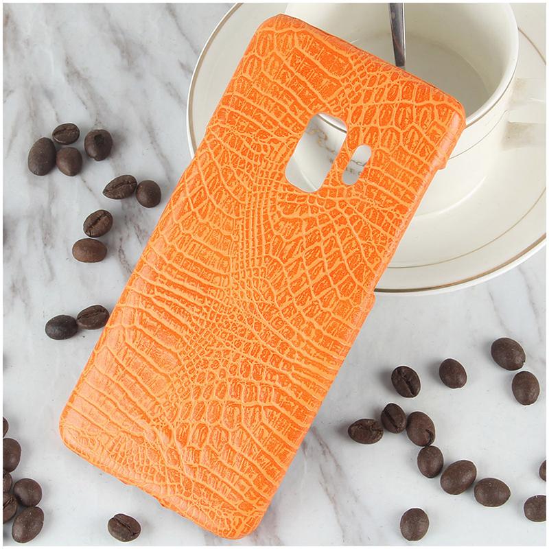 Ultra-Slim Crocodile PU Leather PC Hard Case Back Cover for Samsung S9 - Orange