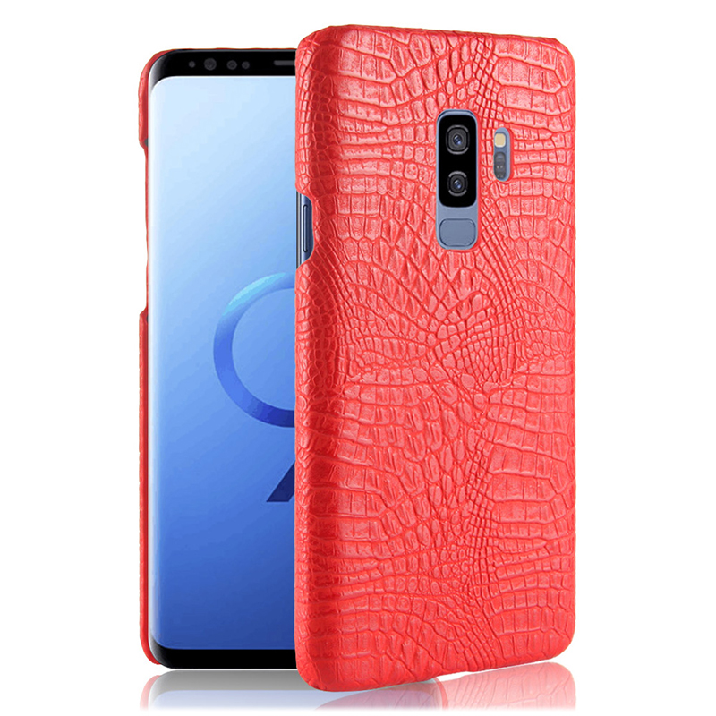 Slim Crocodile PU Leather Texture Hard PC Protective Case Back Cover for Samsung S9 Plus - Red