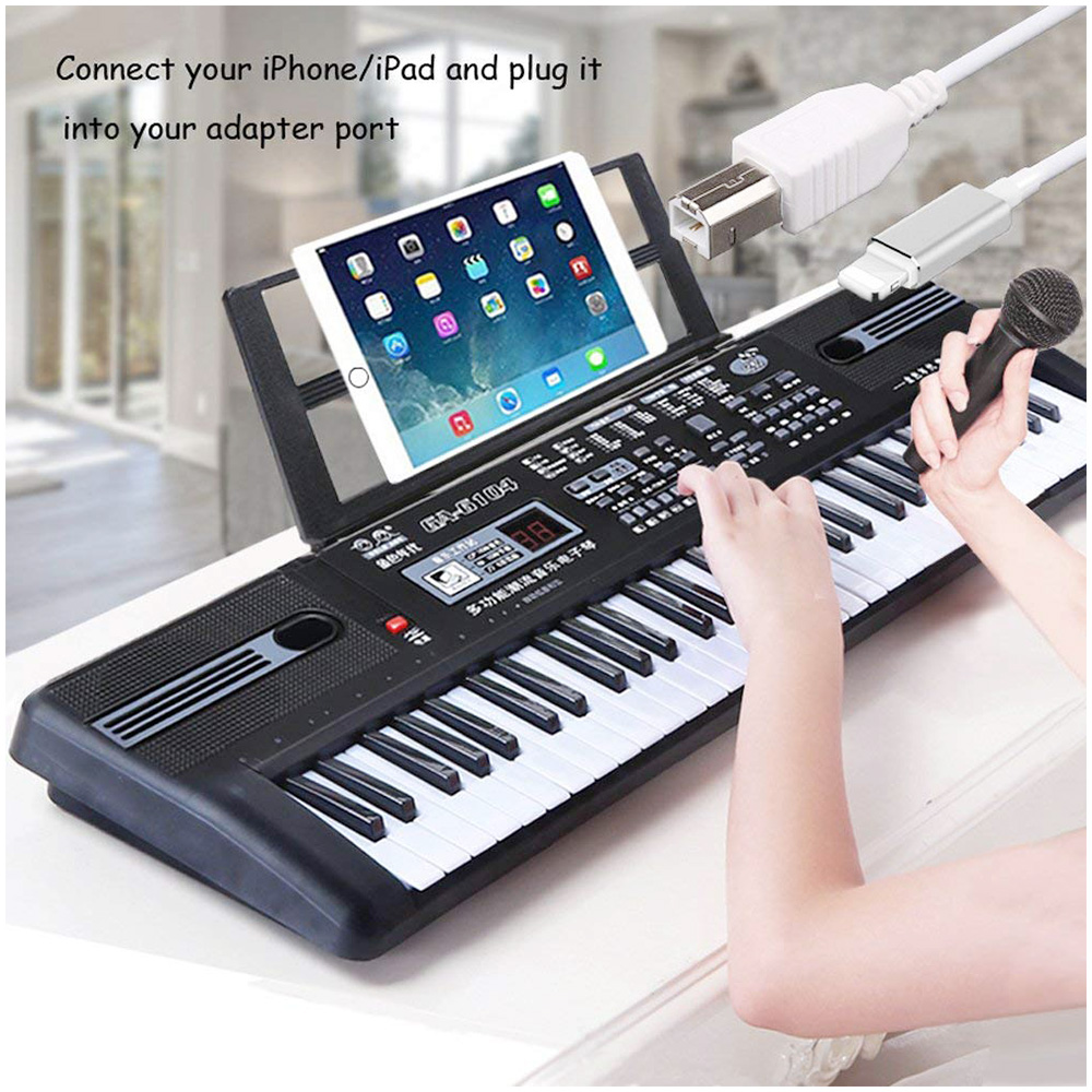 Lightning to USB 2.0 Type B Cable Keyboard Microphone Audio Connection Converter Adapter for iPhone iPad