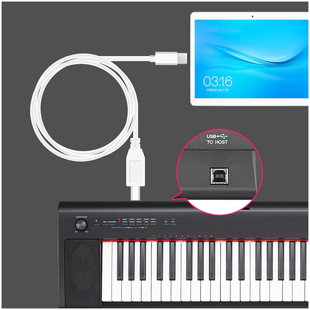 Android Micro USB to Standard B Type Cable Audio Connection Converter for Keyboard Electronic Piano