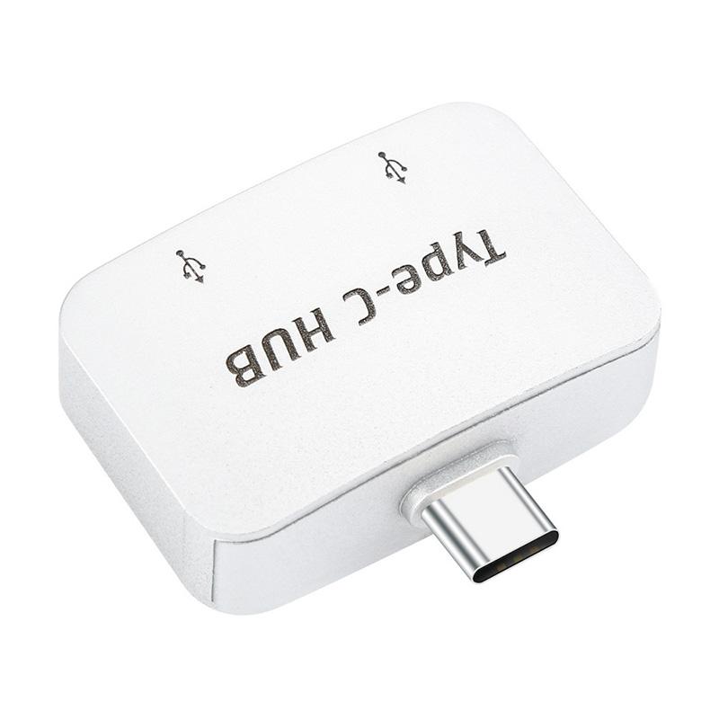 Type-C to USB 3.0 2-Port Splitter Hub OTG Adapter for Samsung S9 to Read U-Disk Keyboard Camera