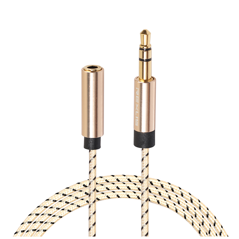 3.5mm Jack Male to Female Braided Aux Cable Stereo Audio Extender Cord for Headphone - 1.8M