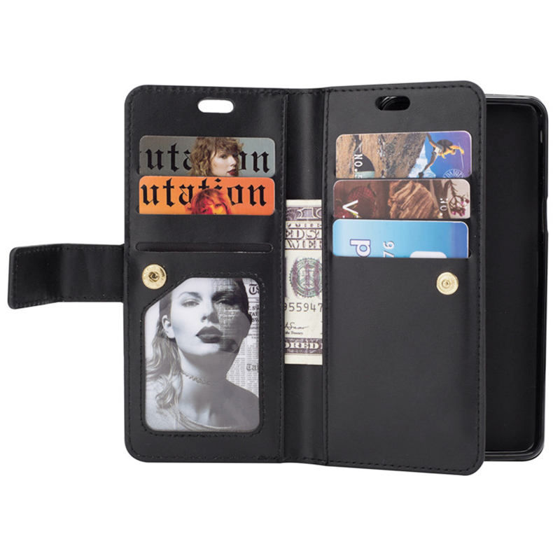 Magnetic Zipper Wallet PU Leather Shockproof Case 9 Card Slots Flip Stand Cover for Samsung S9 - Black