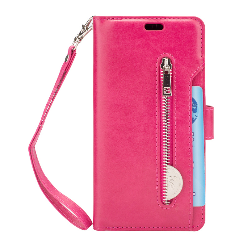 Magnetic Zipper Wallet PU Leather Shockproof Case 9 Card Slots Flip Stand Cover for Samsung S9 - Rose Red