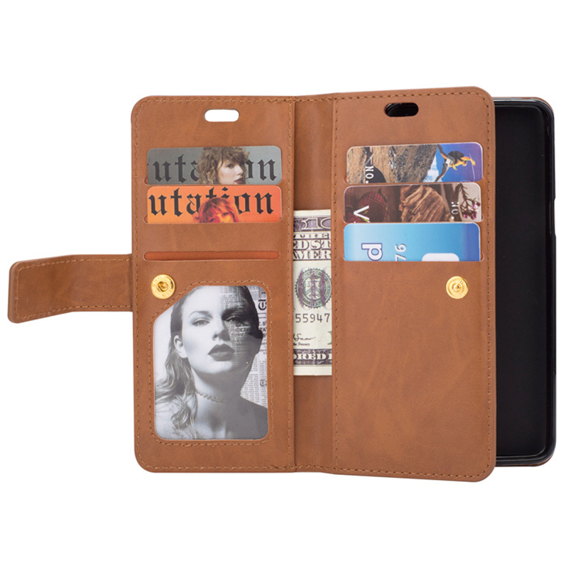Magnetic Zipper Wallet PU Leather Shockproof Case 9 Card Slots Flip Stand Cover for Samsung S9 - Brown
