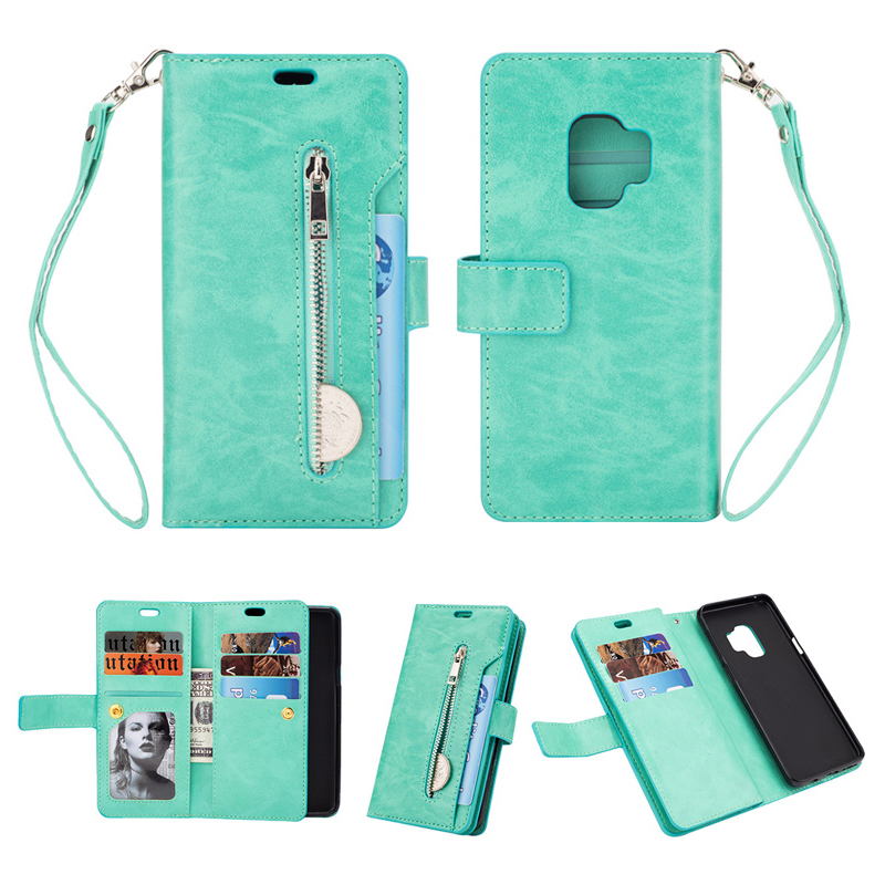 Magnetic Zipper Wallet PU Leather Shockproof Case 9 Card Slots Flip Stand Cover for Samsung S9 - Mint Green
