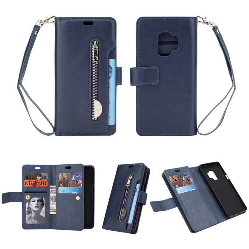 Magnetic Zipper Wallet PU Leather Shockproof Case 9 Card Slots Flip Stand Cover for Samsung S9 - Dark Blue