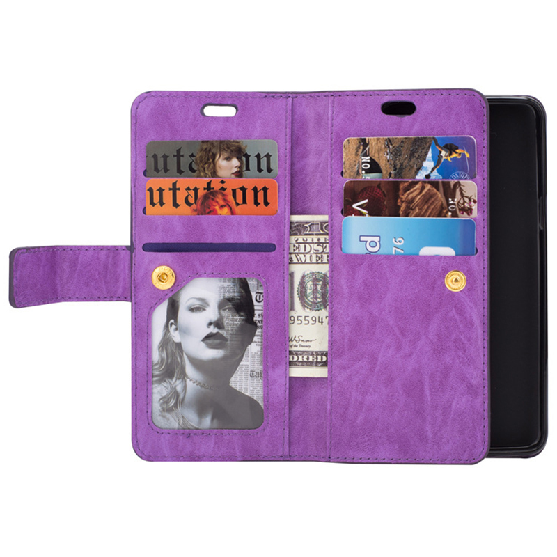 Magnetic Zipper Wallet PU Leather Shockproof Case 9 Card Slots Flip Stand Cover for Samsung S9 - Dark Purple