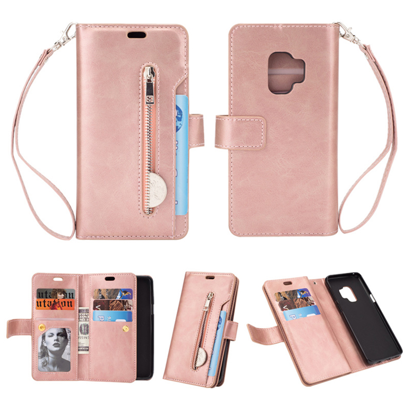 Magnetic Zipper Wallet PU Leather Shockproof Case 9 Card Slots Flip Stand Cover for Samsung S9 - Rose Golden