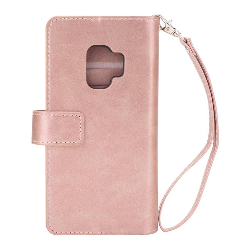 Magnetic Zipper Wallet PU Leather Shockproof Case 9 Card Slots Flip Stand Cover for Samsung S9 - Rose Golden