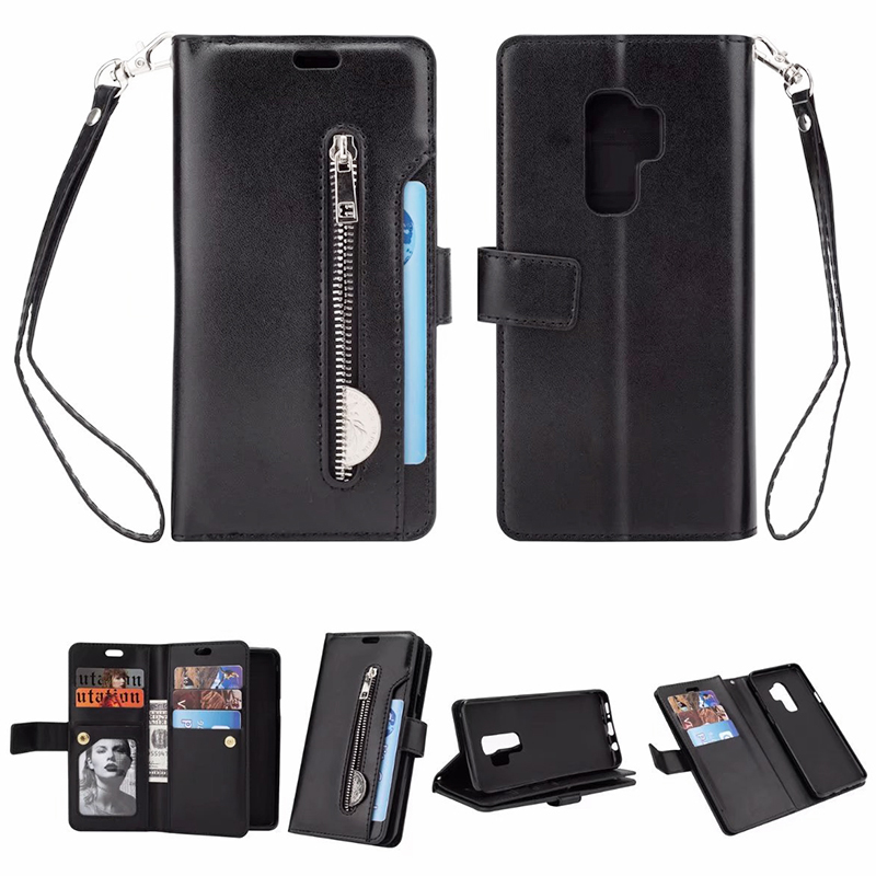 Premium PU Leather Zipper Wallet Case Magnetic Card Slots Flip Stand Cover for Samsung S9 Plus - Black